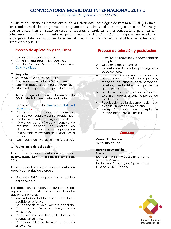 Facultad de ciencias de la salud convocatoria movilidad for Convocatoria de docentes 2017
